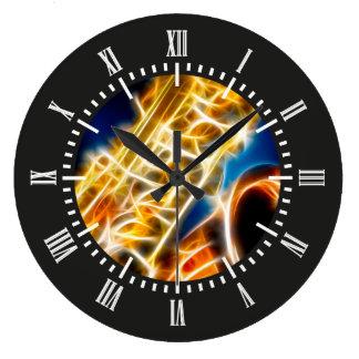 Saxophone - Fractal Large Clock