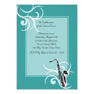 Saxophone Full Color 5x7 Paper Invitation Card