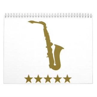 Saxophone golden stars calendar