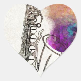 Saxophone Healing Heart Sticker