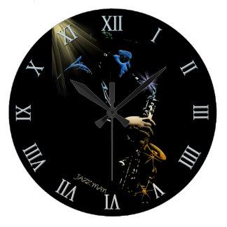 Saxophone Jazz Player Art Design Large Clock