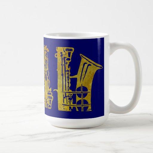 Saxophone Keys in Gold Mug