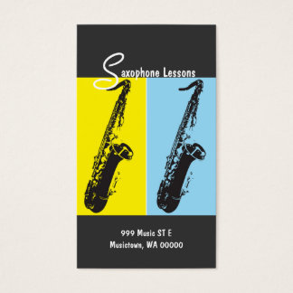 Saxophone Lessons, Instructor, Music Business Card