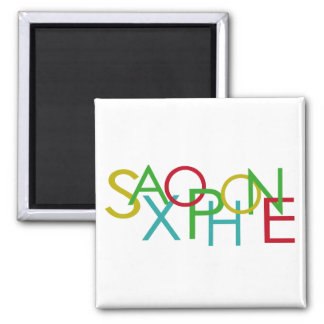 SAXOPHONE Letters 2 Inch Square Magnet
