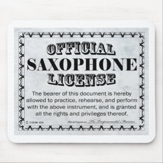 Saxophone License Mouse Pad