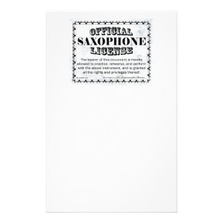 Saxophone License Stationery