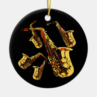 Saxophone Mania Band Photo Ceramic Ornament