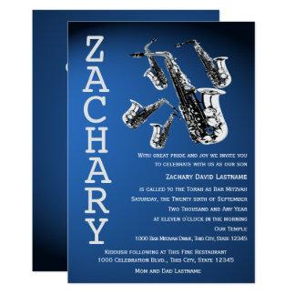 Saxophone Mania Music Blue Bar Mitzvah Card