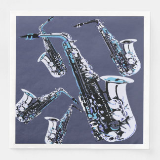 Saxophone Mania Paper Dinner Napkin
