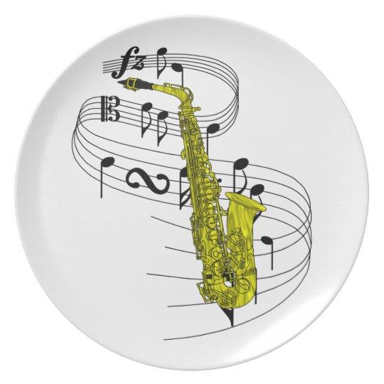 Saxophone Melamine Plate