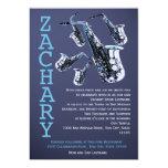 Saxophone Music Bar Mitzvah 5x7 Paper Invitation Card