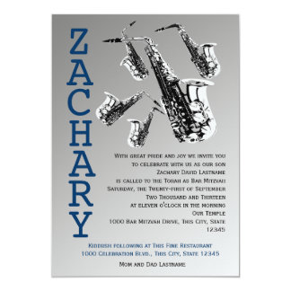 Saxophone Music Bar Mitzvah Card