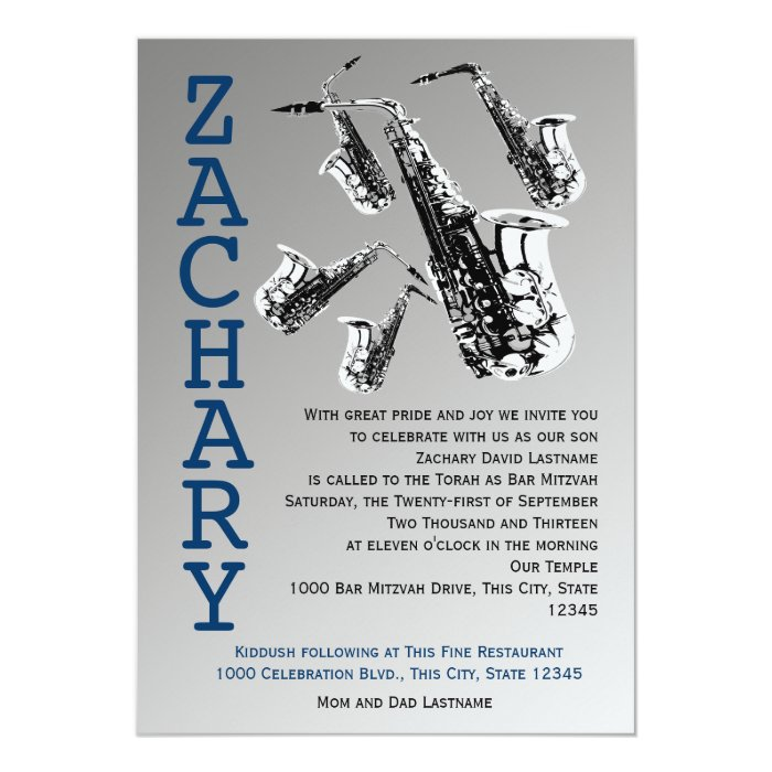 Saxophone Music Bar Mitzvah Card
