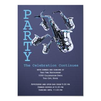"Saxophone Music Bar Mitzvah Reception 4.5"" X 6.25"" Invitation Card"