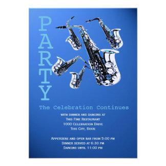 Saxophone Music Bar Mitzvah Reception Custom Announcement