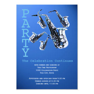 Saxophone Music Bar Mitzvah Reception 4.5x6.25 Paper Invitation Card