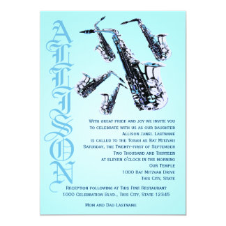 "Saxophone Music Bat Mitzvah 5"" X 7"" Invitation Card"