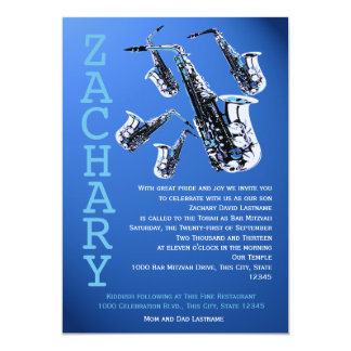 Saxophone Music Blue Bar Mitzvah Card