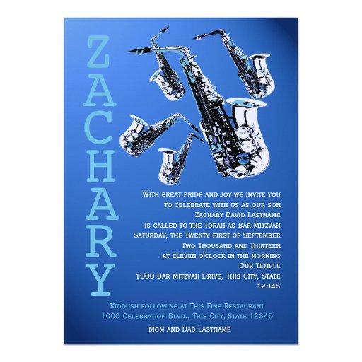 Saxophone Music Blue Bar Mitzvah Cards