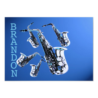 Saxophone Music Blue Thank You Flat Card