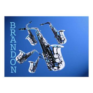 Saxophone Music Blue Thank You Flat Card