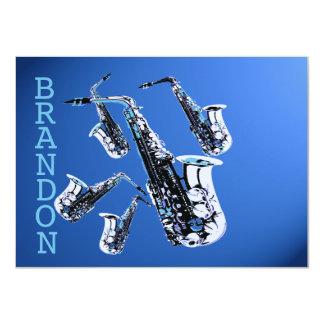 "Saxophone Music Blue Thank You Flat Card 4.5"" X 6.25"" Invitation Card"