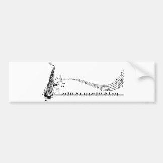 Saxophone Music Car Bumper Sticker