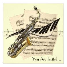 Saxophone Music Design Invitation at Zazzle