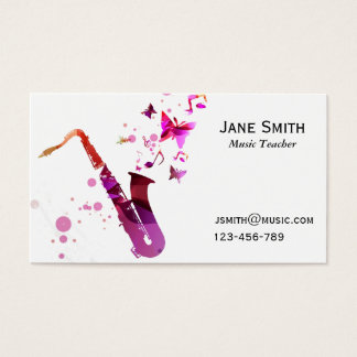 Saxophone Music Teacher freelance Music tutor Business Card