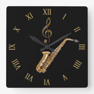 Saxophone Music-Themed Musician's Gift Square Wall Clock