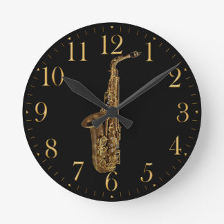 Saxophone Music Themed Wall Clock