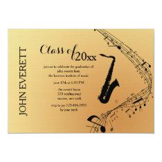 Saxophone Musical Instrument Invitation at Zazzle