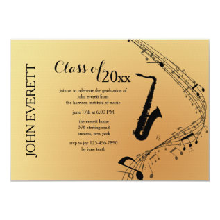 Saxophone Musical Instrument Invitation at Zazzle