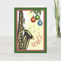 Saxophone New Orleans Jazz Christmas Holiday Card