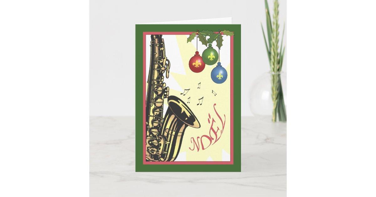 Saxophone New Orleans Jazz Christmas Holiday Card | Zazzle.com