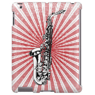 Saxophone on Grunge Red Sunburst