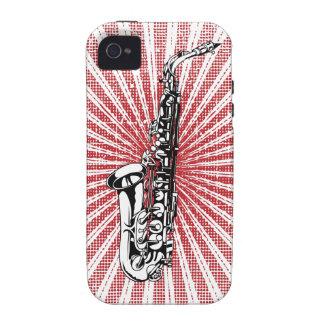Saxophone on Grunge Red Sunburst Case-Mate iPhone 4 Case