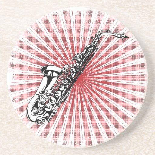 Saxophone on Grunge Red Sunburst Drink Coaster