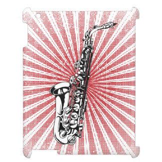 Saxophone on Grunge Red Sunburst iPad Cases
