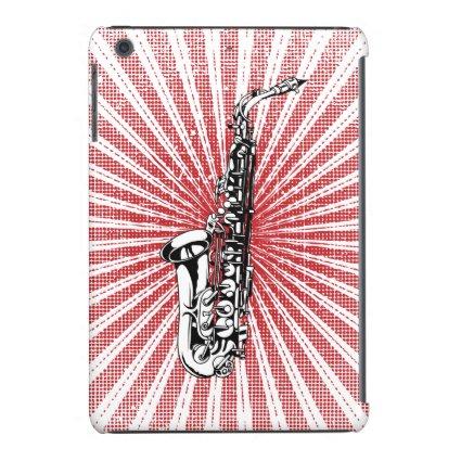 Saxophone on Grunge Red Sunburst iPad Mini Cases