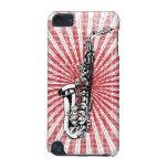 Saxophone on Grunge Red Sunburst iPod Touch (5th Generation) Case