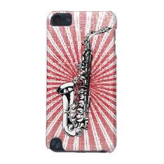 Saxophone On Grunge Red Sunburst Ipod Touch (5th Generation) Case at Zazzle