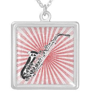 Saxophone on Grunge Red Sunburst Square Pendant Necklace
