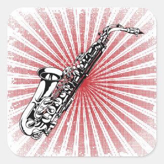 Saxophone on Grunge Red Sunburst Square Sticker
