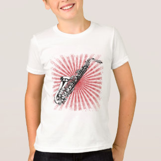 Saxophone on Grunge Red Sunburst T-Shirt