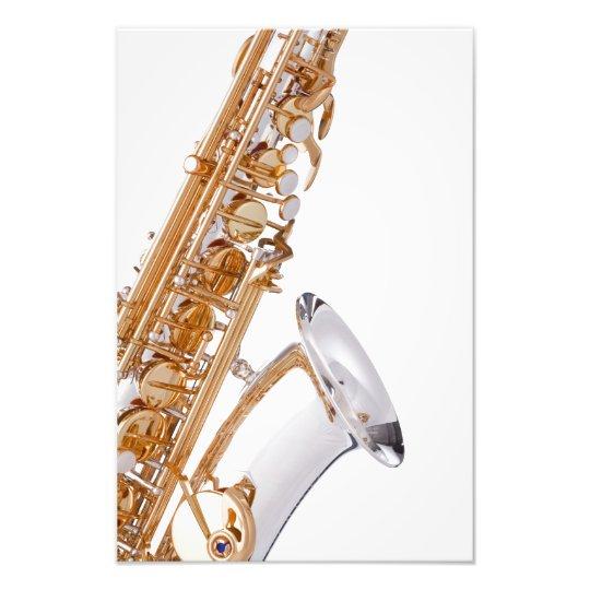 Saxophone on White Photo Print