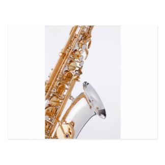 Saxophone on White Postcard