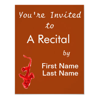 Saxophone painting, red version with red hands 4.25x5.5 paper invitation card