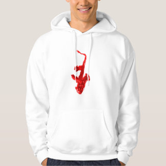 Saxophone painting, red version with red hands hoodie