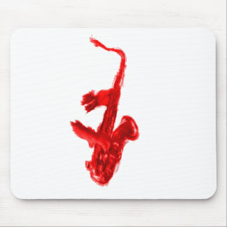 Saxophone painting, red version with red hands mouse pad
